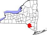 Map of New York showing Sullivan County
