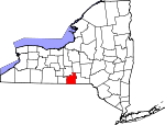 Map of New York showing Tioga County