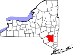 Map of New York showing Ulster County