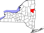 Map of New York showing Warren County