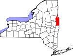 Map of New York showing Washington County