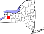 Map of New York showing Wyoming County