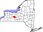 Map of New York showing Yates County