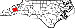 Map of North Carolina showing Buncombe County