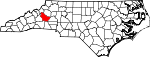 Map of North Carolina showing Burke County