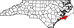 Map of North Carolina showing Carteret County