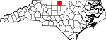 Map of North Carolina showing Caswell County