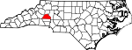 Map of North Carolina showing Catawba County