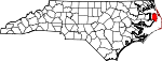 Map of North Carolina showing Dare County