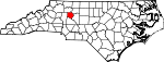Map of North Carolina showing Davie County