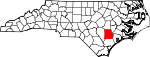 Map of North Carolina showing Duplin County