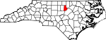 Map of North Carolina showing Durham County