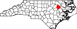 Map of North Carolina showing Edgecombe County