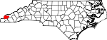 Map of North Carolina showing Graham County