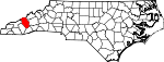 Map of North Carolina showing Haywood County