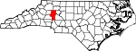 Map of North Carolina showing Iredell County