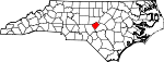 Map of North Carolina showing Lee County