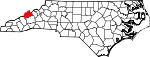 Map of North Carolina showing Madison County