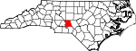 Map of North Carolina showing Montgomery County