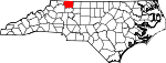 Map of North Carolina showing Surry County