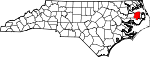 Map of North Carolina showing Tyrrell County