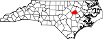 Map of North Carolina showing Wilson County