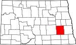 Map of North Dakota showing Barnes County