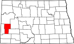Map of North Dakota showing Billings County