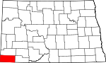 Map of North Dakota showing Bowman County