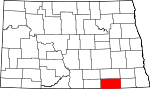 Map of North Dakota showing Dickey County