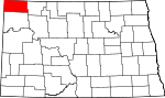 Map of North Dakota showing Divide County