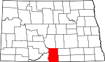 Map of North Dakota showing Emmons County
