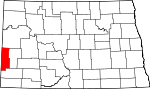 Map of North Dakota showing Golden Valley County