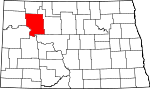 Map of North Dakota showing Mountrail County