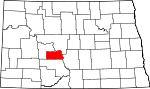 Map of North Dakota showing Oliver County