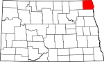 Map of North Dakota showing Pembina County