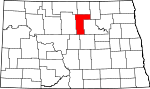 Map of North Dakota showing Pierce County