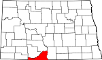 Map of North Dakota showing Sioux County