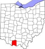Map of Ohio showing Adams County