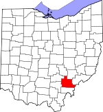 Map of Ohio showing Athens County