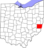 Map of Ohio showing Belmont County