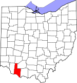 Map of Ohio showing Brown County