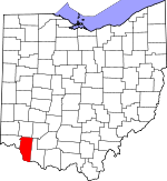 Map of Ohio showing Clermont County
