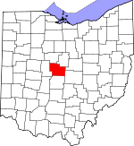 Map of Ohio showing Delaware County