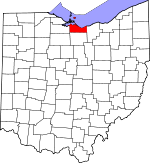 Map of Ohio showing Erie County
