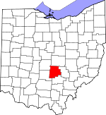 Map of Ohio showing Fairfield County
