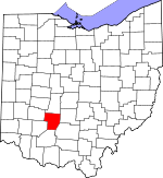 Map of Ohio showing Fayette County