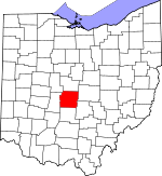 Map of Ohio showing Franklin County