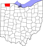 Map of Ohio showing Fulton County