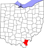 Map of Ohio showing Gallia County